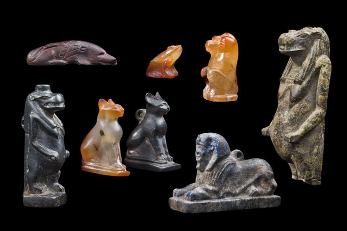 Group of Eight Hardstone Amulets
